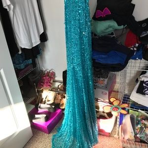 Adrianna Papell Tea Blue Sequin Gown, worn once.